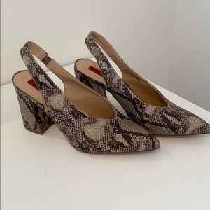 London Rebel slingback heel in snake print